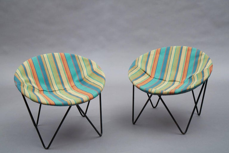 Pair of Mid-Century Modern, children's, hoop chairs with wrought iron frames are newly upholstered a playful striped cotton linen.