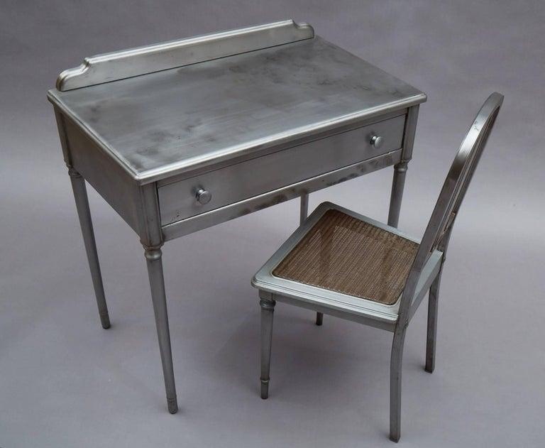 Pressed Industrial Brushed Steel Simmons Sheraton Series Vanity Desk Set For Sale