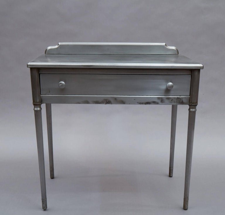 Mid-20th Century Industrial Brushed Steel Simmons Sheraton Series Vanity Desk Set For Sale