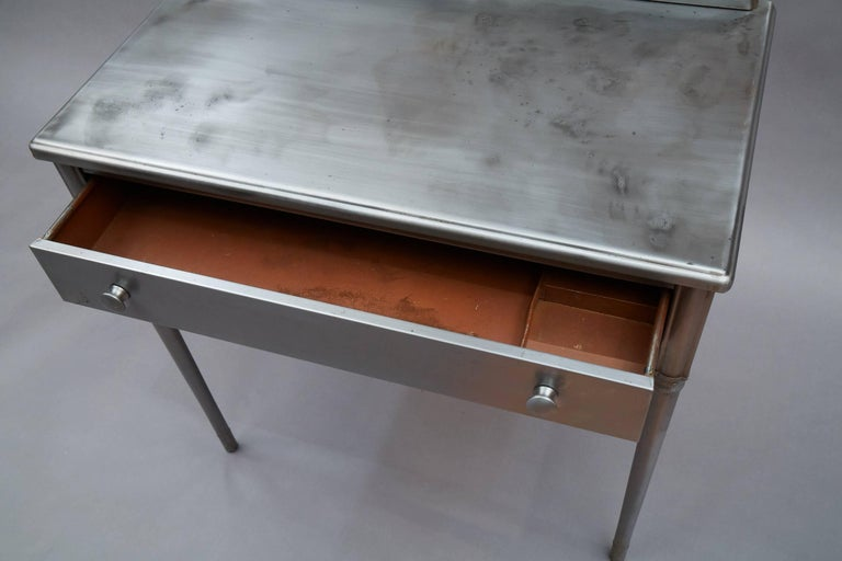 Industrial Brushed Steel Simmons Sheraton Series Vanity Desk Set For Sale 1