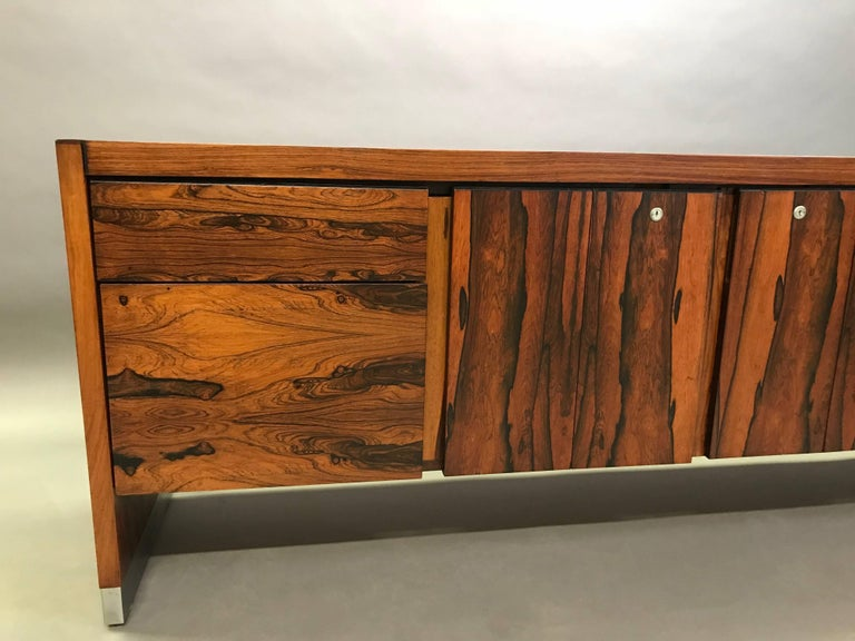Rosewood and Chrome Office Credenza In Excellent Condition For Sale In Brooklyn, NY