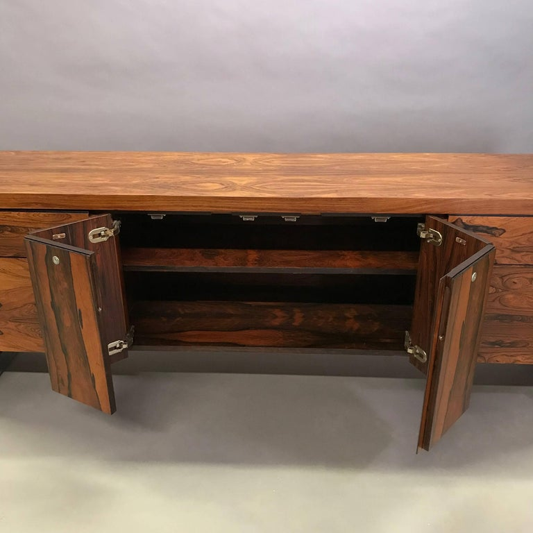 Late 20th Century Rosewood and Chrome Office Credenza For Sale