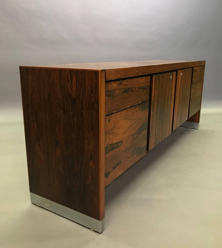 Mid-Century Modern Rosewood and Chrome Office Credenza For Sale