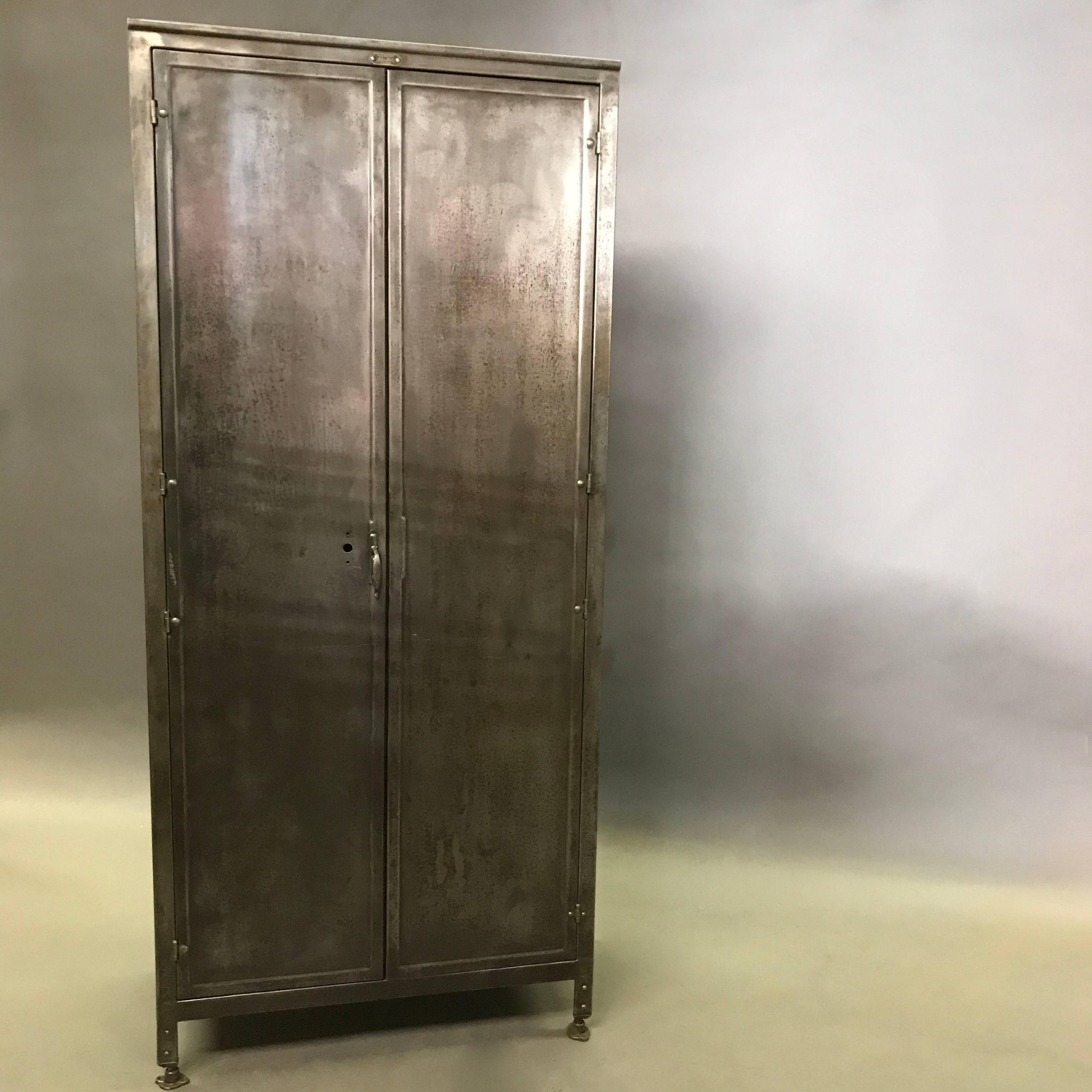 American Industrial Double Door Brushed Steel Medart Steelbilt Armoire  Wardrobe Cabinet For Sale