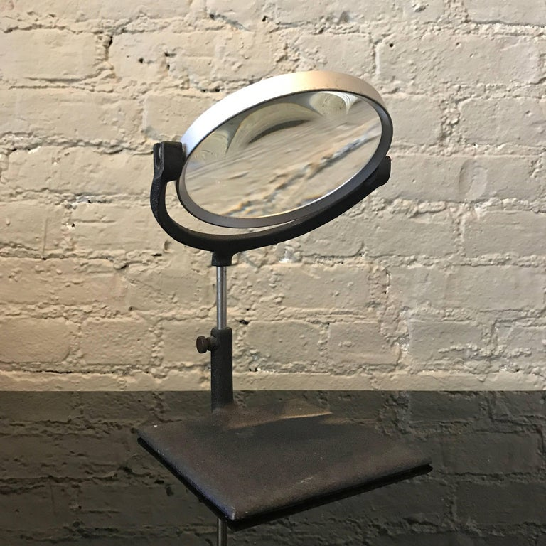 American Industrial Mid Century Tabletop Magnifying Glass For Sale