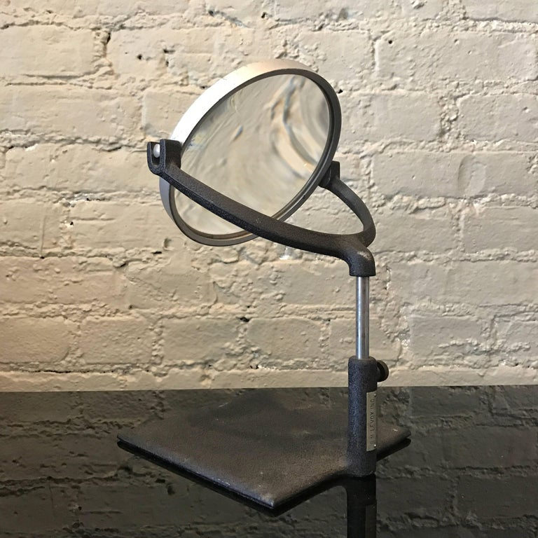 Industrial Mid Century Tabletop Magnifying Glass In Good Condition For Sale In Brooklyn, NY