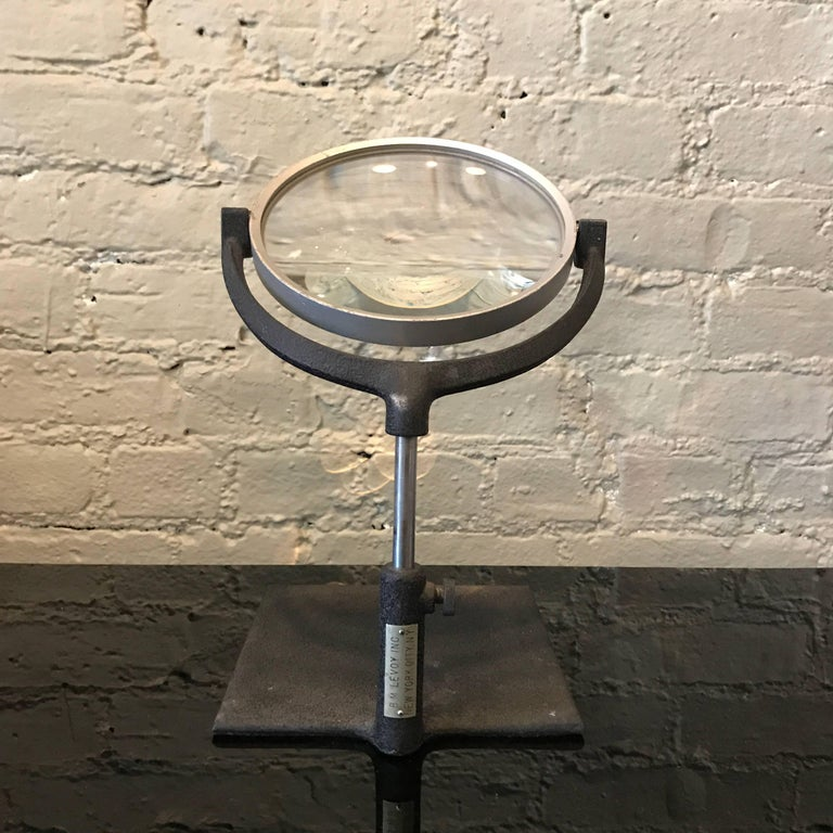 Aluminum Industrial Mid Century Tabletop Magnifying Glass For Sale