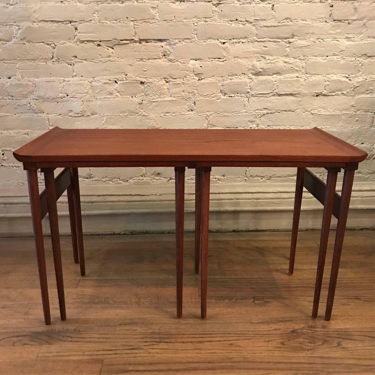 Long Nesting Tables ~ Trio of danish modern walnut nesting tables for sale at