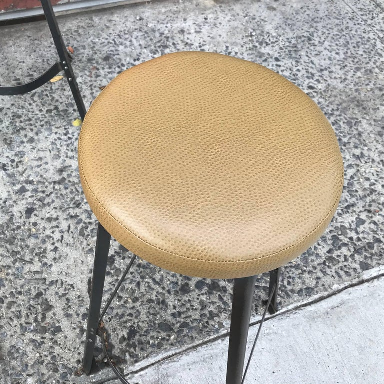 Industrial Midcentury Angle Iron and Faux Ostrich Barstools In Excellent Condition For Sale In Brooklyn, NY