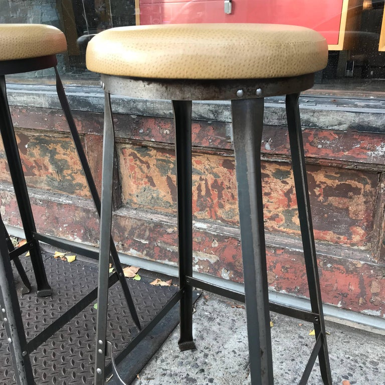 Polished Industrial Midcentury Angle Iron and Faux Ostrich Barstools For Sale