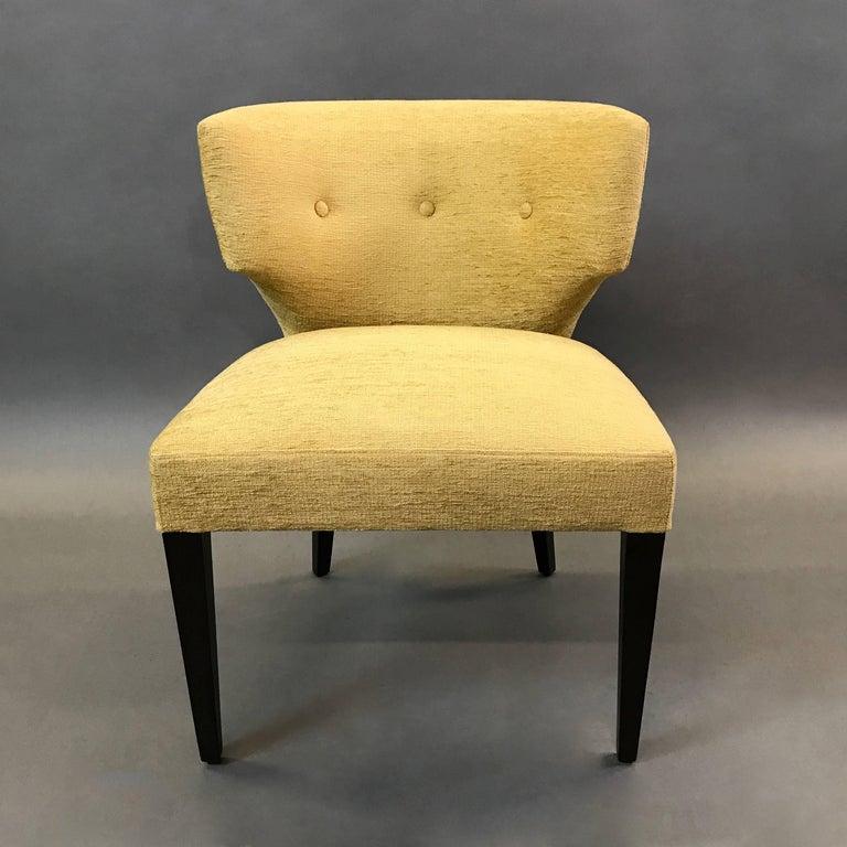 Chenille Pair of Hollywood Regency Upholstered Klismos Slipper Chairs For Sale