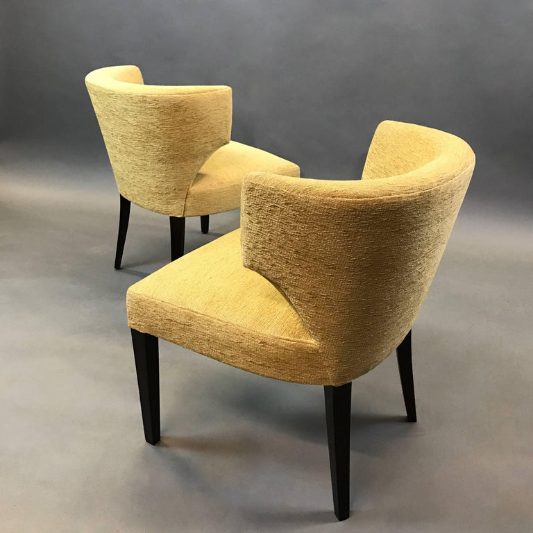 Mid-20th Century Pair of Hollywood Regency Upholstered Klismos Slipper Chairs For Sale