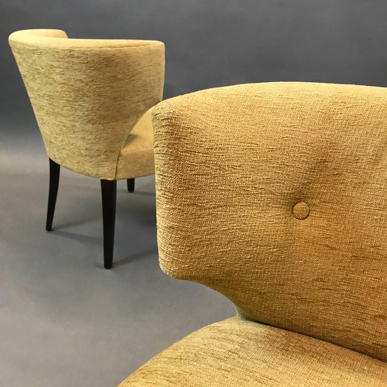 Lacquered Pair of Hollywood Regency Upholstered Klismos Slipper Chairs For Sale