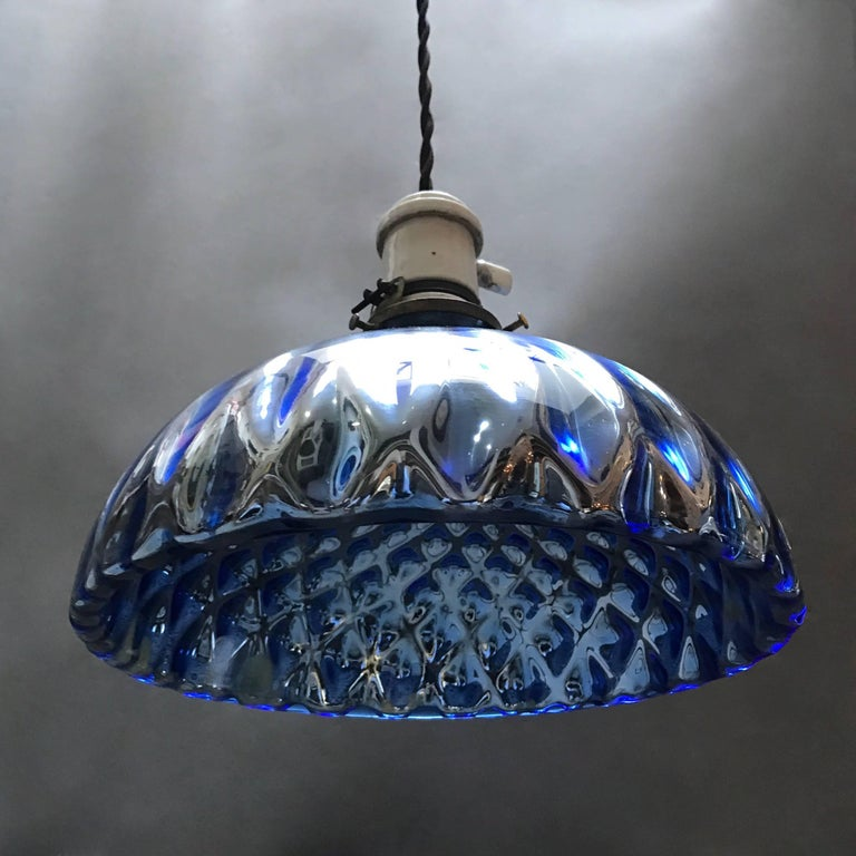 American Quilted Blue Mercury Glass Pendant Light For