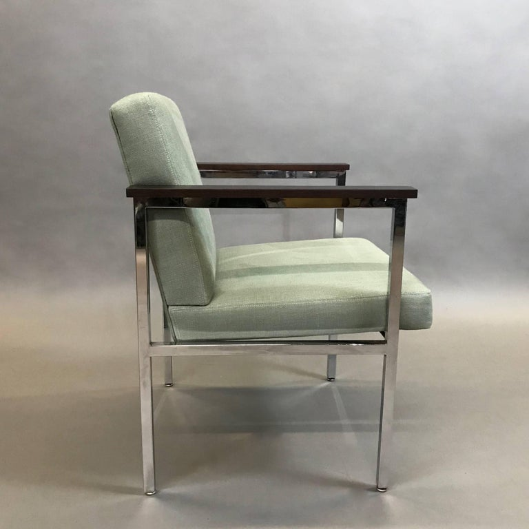 American Mid-Century Modern Upholstered Chrome Armchair For Sale