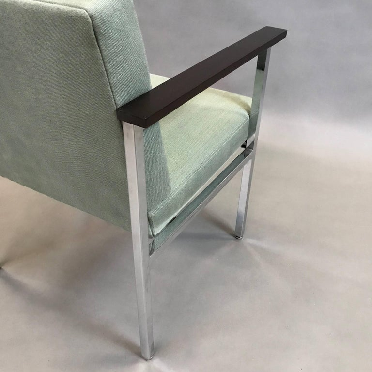 Cotton Mid-Century Modern Upholstered Chrome Armchair For Sale