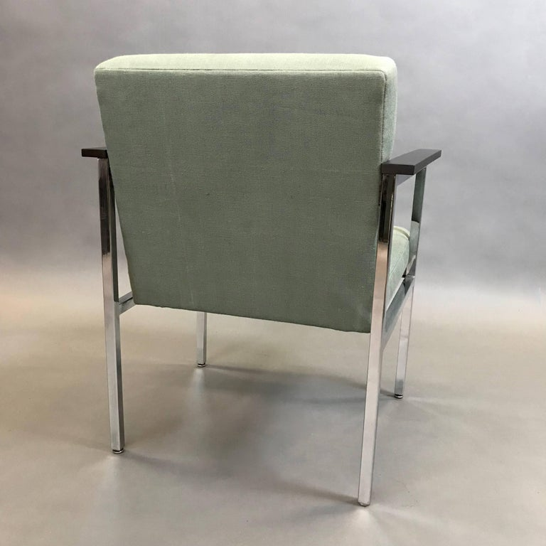 Mid-Century Modern Upholstered Chrome Armchair In Excellent Condition For Sale In Brooklyn, NY