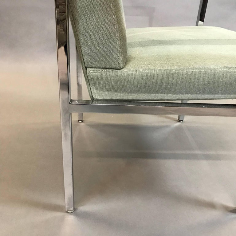 Late 20th Century Mid-Century Modern Upholstered Chrome Armchair For Sale