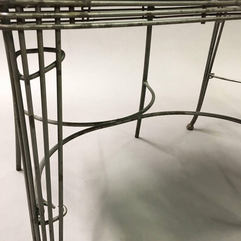 Hollywood Regency Brushed Steel Wire Dining Chairs For Sale 1