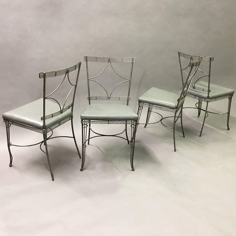 American Hollywood Regency Brushed Steel Wire Dining Chairs For Sale