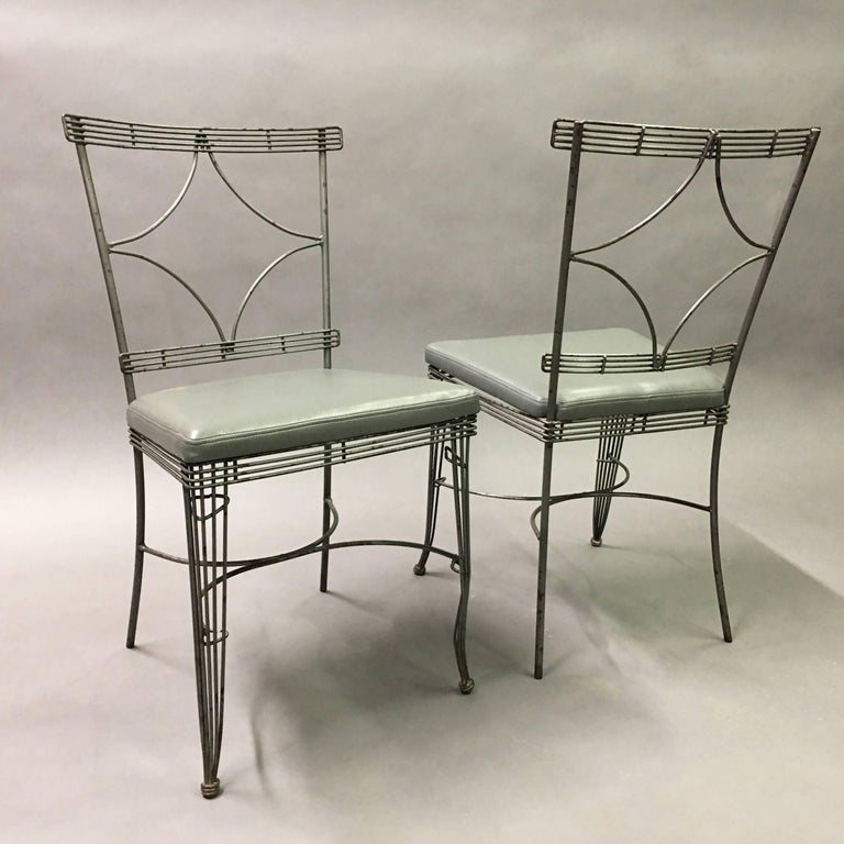 Hollywood Regency Brushed Steel Wire Dining Chairs In Good Condition For Sale In Brooklyn, NY
