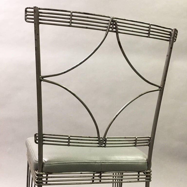 20th Century Hollywood Regency Brushed Steel Wire Dining Chairs For Sale