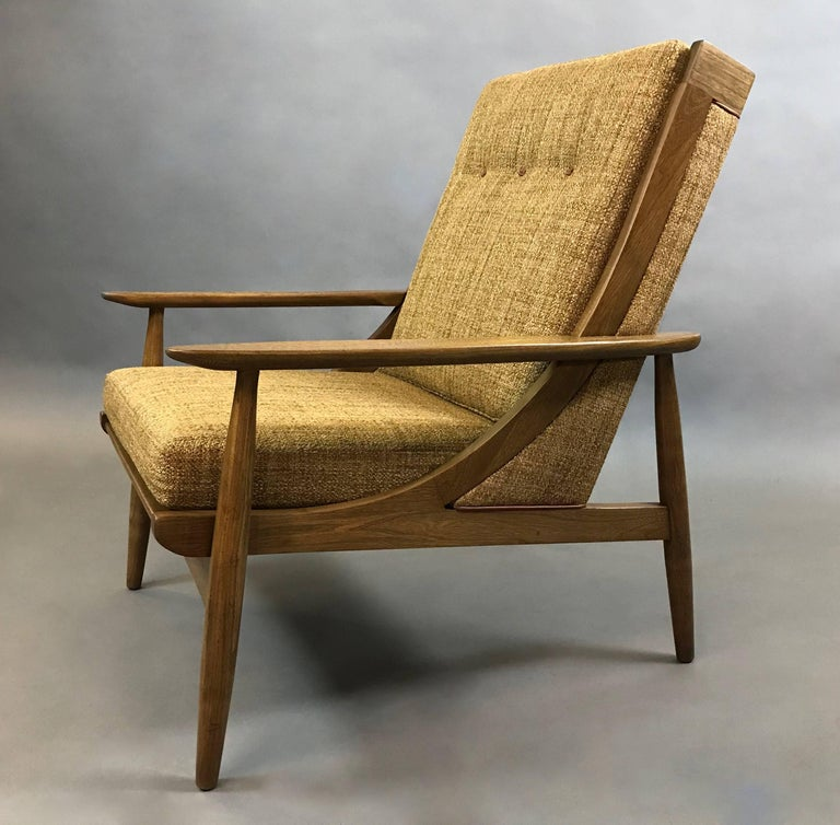 Mid-Century Modern Italian Mid Century Modern High Back Upholstered Lounge Chair For Sale