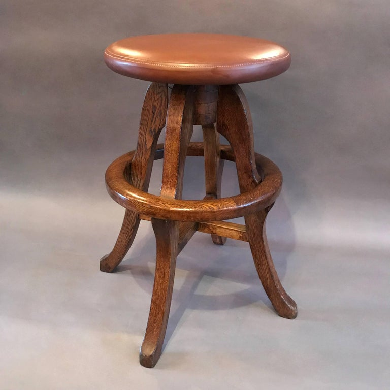 Industrial Solid Oak and Leather Workshop Drafting Stool For Sale
