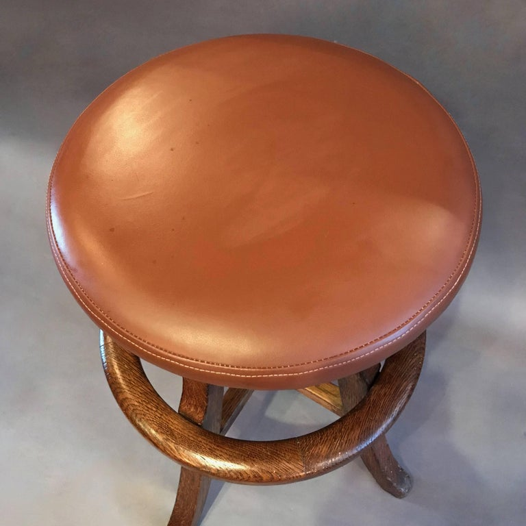 Mid-20th Century Solid Oak and Leather Workshop Drafting Stool For Sale