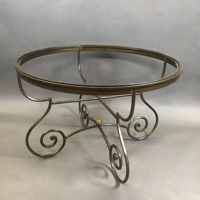 American Hollywood Regency Round Scrolled Steel Dining Table Frame For Sale