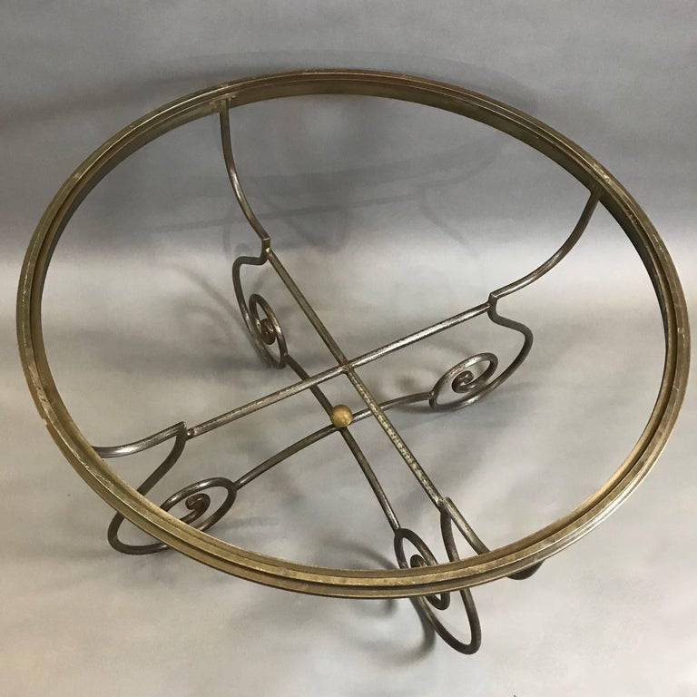 20th Century Hollywood Regency Round Scrolled Steel Dining Table Frame For Sale