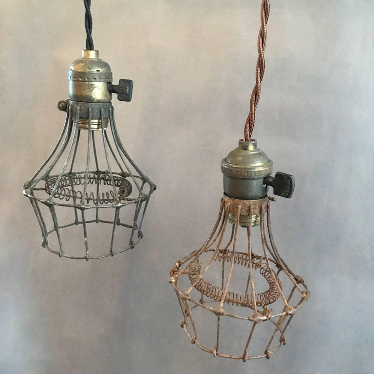 Industrial Steel Wire Cage Pendant Lights For Sale at 1stdibs