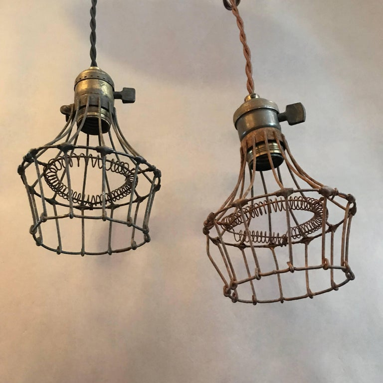 Industrial Caged Pendant With Rivets: Industrial Steel Wire Cage Pendant Lights For Sale At 1stdibs