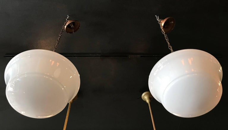 Art Deco Milk Glass and Copper Library Pendant Lights For Sale 1