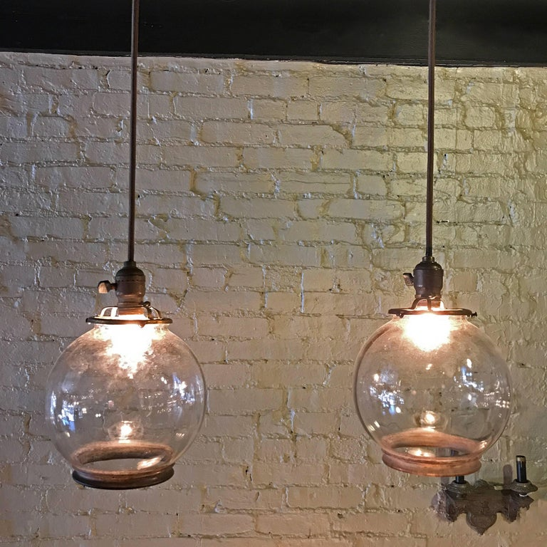 Pair of open clear glass globe pendant lights for sale at 1stdibs industrial pair of open clear glass globe pendant lights for sale mozeypictures Choice Image