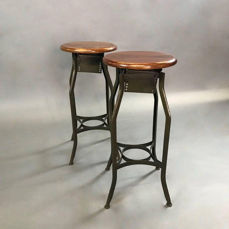 Pair of Industrial Height Adjustable Toledo Shop Stools In Good Condition For Sale In Brooklyn, NY