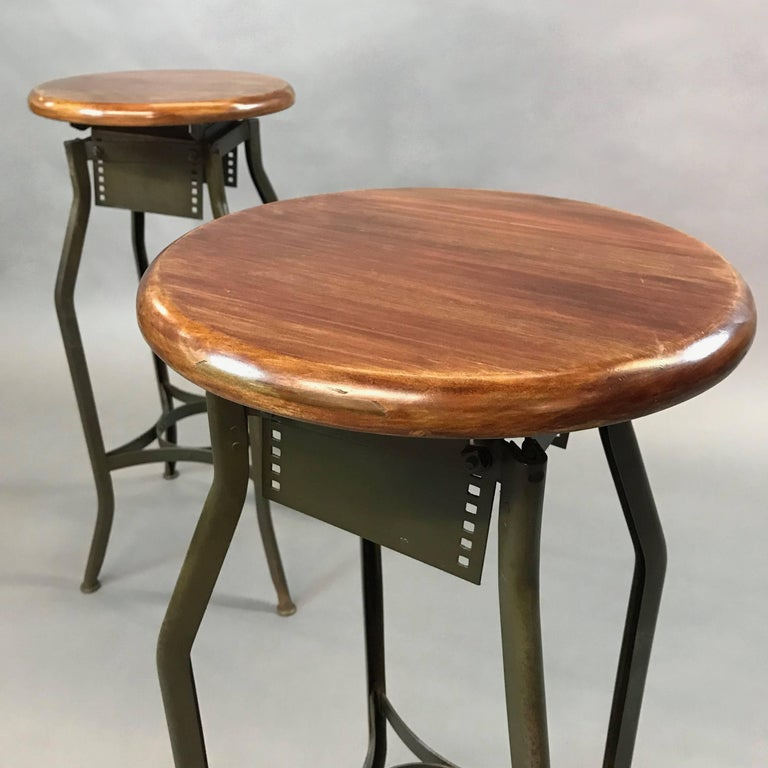 20th Century Pair of Industrial Height Adjustable Toledo Shop Stools For Sale