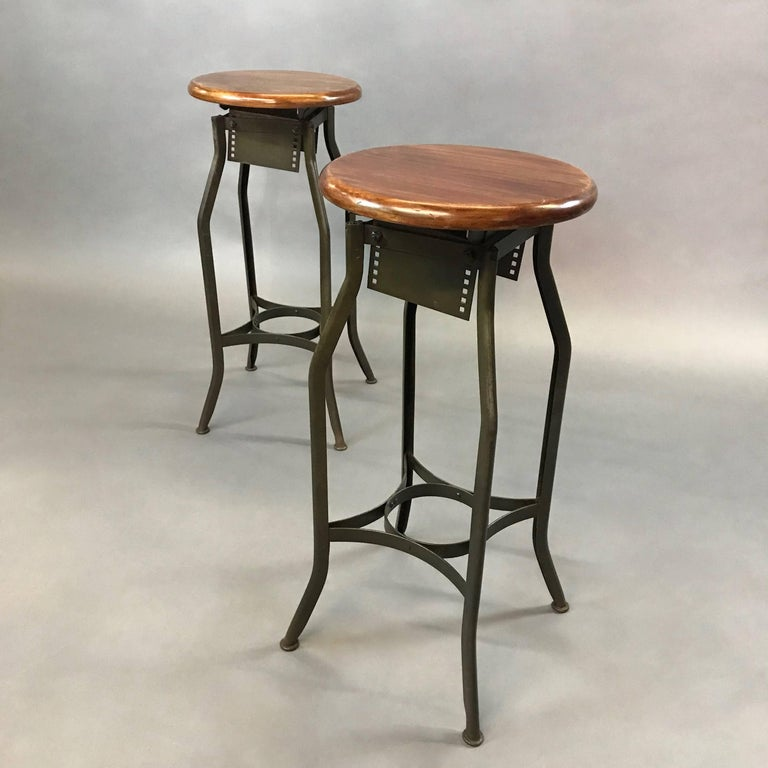 American Pair of Industrial Height Adjustable Toledo Shop Stools For Sale