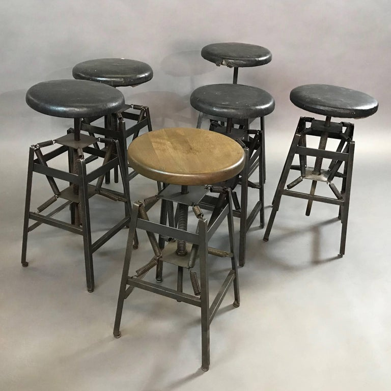 North American Industrial Adjustable Drafting Spring Stools by American Cabinet Co. For Sale