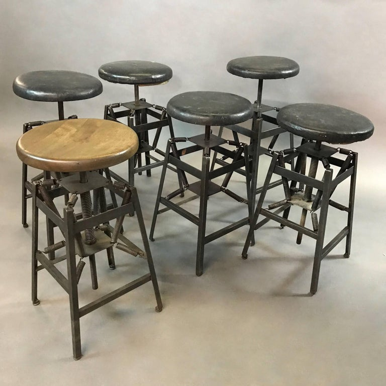 Industrial Adjustable Drafting Spring Stools by American Cabinet Co. For Sale 2