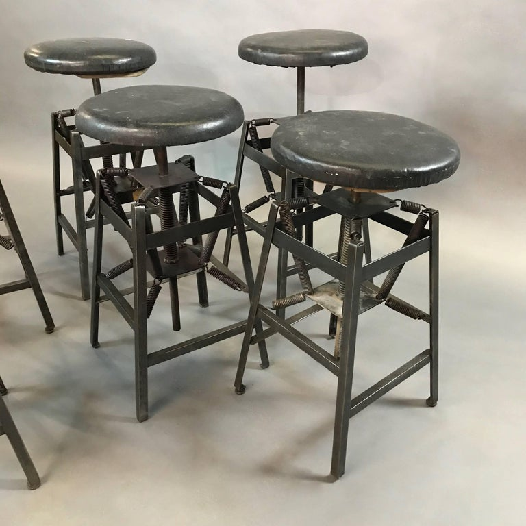Industrial Adjustable Drafting Spring Stools by American Cabinet Co. For Sale 1
