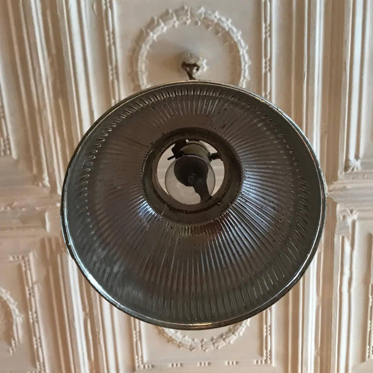 20th Century Industrial Silver X-Ray Mercury Glass Dome Pendant Light For Sale