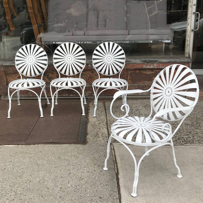 Set of four, Art Deco, garden, patio, outdoor chairs by Francois Carré - Art Deco Francois Carré Wrought Iron Sunburst Outdoor Patio Chair