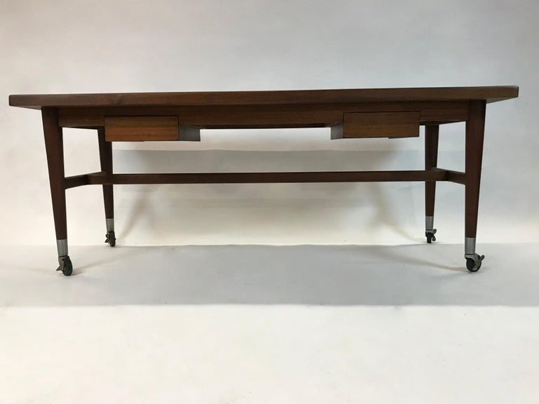 American Custom Architect Mahogany Work Table Desk For Sale