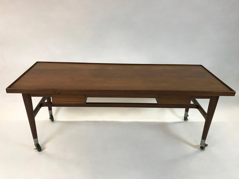 Custom Architect Mahogany Work Table Desk In Excellent Condition For Sale In Brooklyn, NY