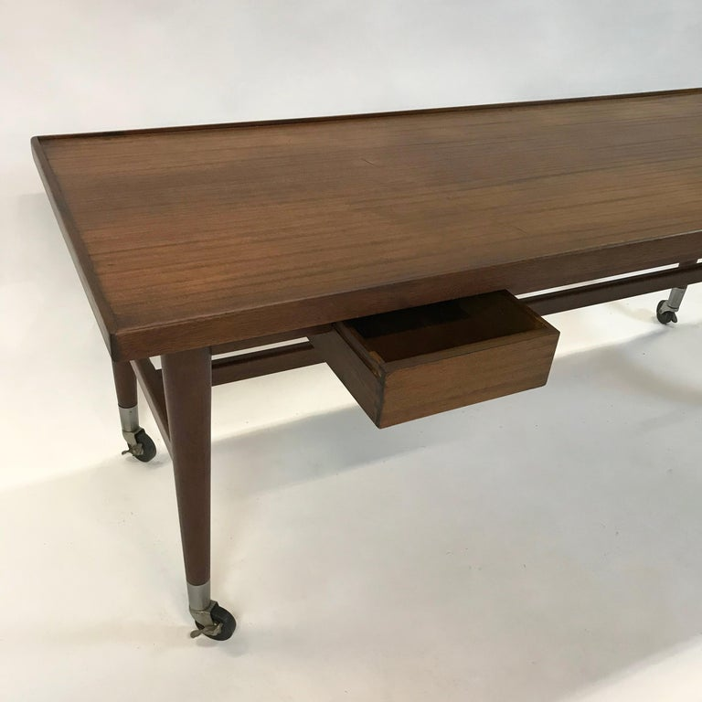 20th Century Custom Architect Mahogany Work Table Desk For Sale