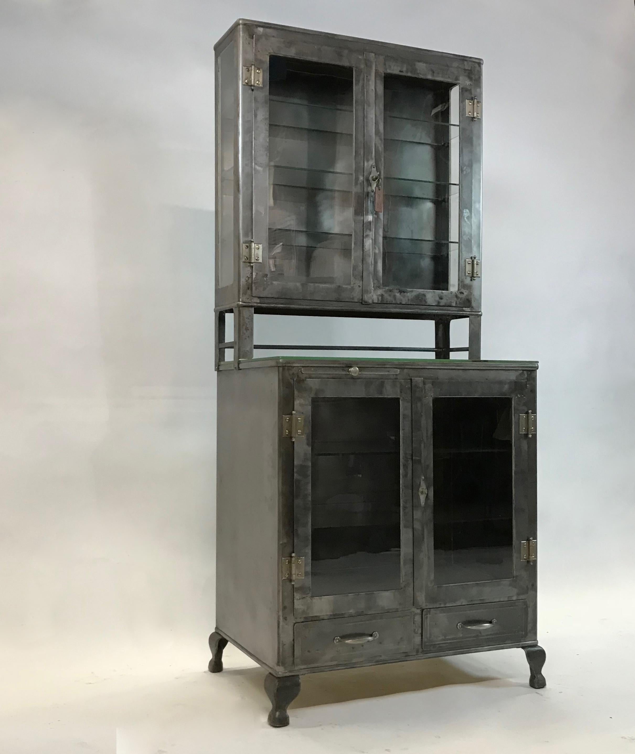 American Industrial Brushed Steel Glass Front Apothecary Display Cabinet  For Sale