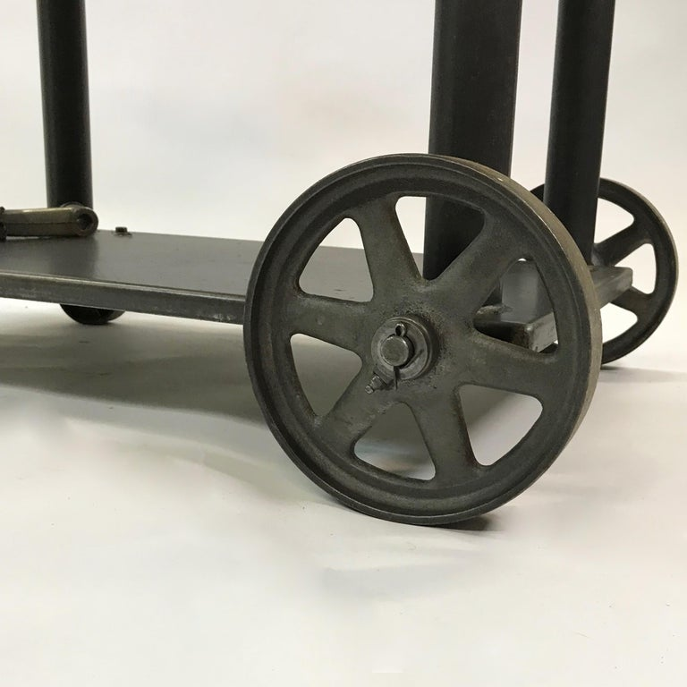 Industrial Cast Iron Steel Rolling Cart Factory Table For Sale 5