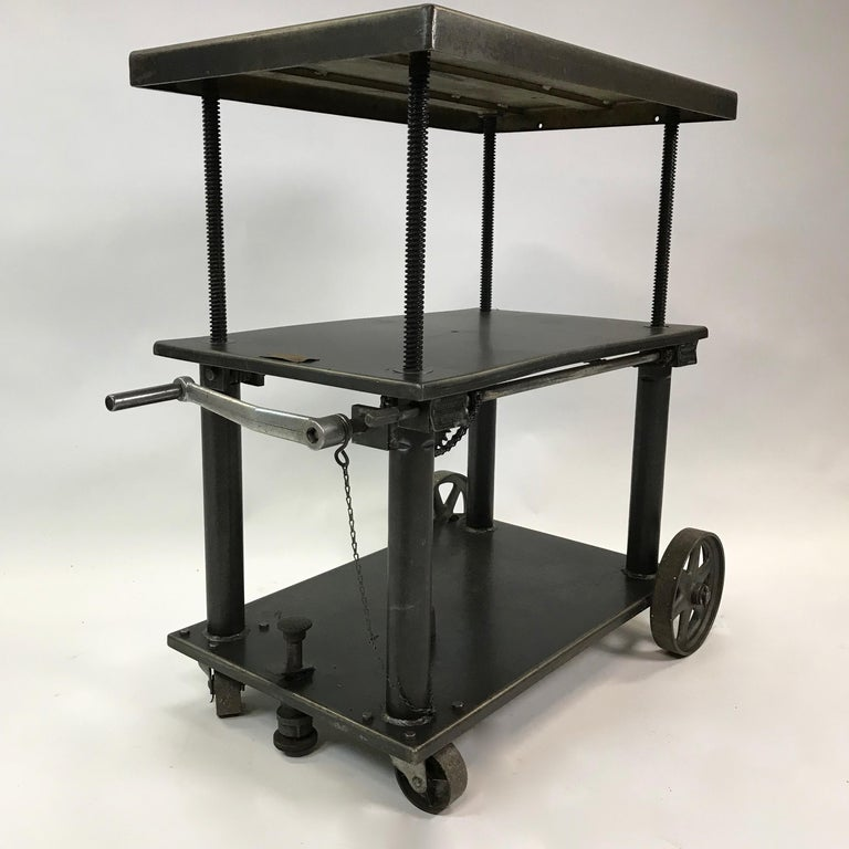 20th Century Industrial Cast Iron Steel Rolling Cart Factory Table For Sale