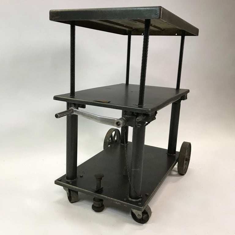 Industrial Cast Iron Steel Rolling Cart Factory Table For Sale 1